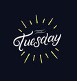 hello tuesday hand written lettering vector image vector image