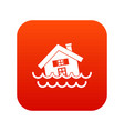 house sinking in a water icon digital red vector image vector image