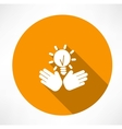 idea in the hands icon vector image vector image