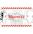 industry 40 concept banner robot and human vector image