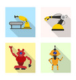 isolated object of robot and factory symbol vector image vector image