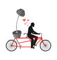 lover fitness man and barbell on bicycle walk on vector image