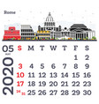 may 2020 calendar template with rome city skyline vector image vector image
