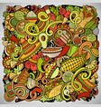 mexican food hand drawn doodles vector image vector image