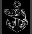 monochromatic fish anchor aquarium fish in vector image vector image
