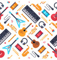 musical instruments seamless pattern vintage vector image