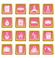 oil industry icons set pink square vector image vector image