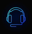over-ear wired headphones blue icon vector image vector image