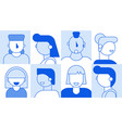 people faces avatar template set for social media vector image