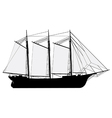 Sailing ship silhouette vector image