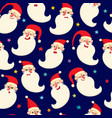 seamless pattern with cute cartoon santa vector image