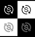 set return investment icons isolated on black vector image