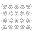 set round line icons snowflake vector image