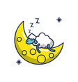 sleeping sheep moon line and fill image vector image