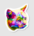 sticker colorful cute cat vector image vector image