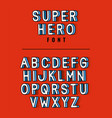 super hero font lettering with alphabet on red vector image vector image
