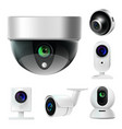 surveillance camera or cctv isolated icons vector image