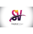 sv s v purple letter logo with swoosh design vector image vector image