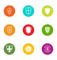 tower shield icons set flat style vector image vector image
