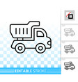 truck toy kids game simple black line icon vector image