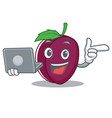 with laptop plum character cartoon style vector image