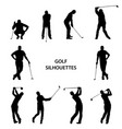golf different silhouettes on white background vector image