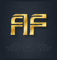 a and f initial golden logo af - metallic 3d icon vector image vector image