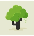 a flat tree with green foliage vector image vector image