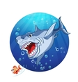 a shark chase the little fish vector image vector image