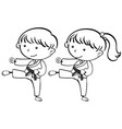 a sketch of karate kids vector image vector image