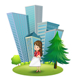 A woman outside the office vector image vector image