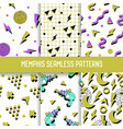 abstract trendy memphis seamless patterns set vector image