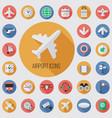 airport flat digital icon set vector image
