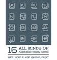 All Kinds of Contact Us Address Book Icons in vector image vector image