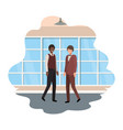 businessmen with wall and windows avatar character vector image vector image
