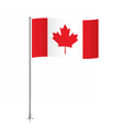 Canadian flag waving on a metallic pole vector image vector image