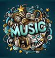 cartoon cute doodles music word colorful vector image