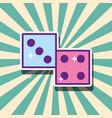 casino dices gambling game cartoon retro style vector image