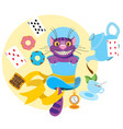 cheshire cat in a hat and a variety of treats for vector image vector image