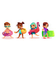 children with swimming rings cartoon set vector image