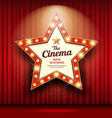cinema theater sign star shape red curtain light vector image vector image