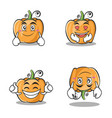 collection set pumpkin character cartoon style vector image