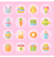 Colorful spring Easter flat icons set vector image vector image