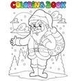 coloring book santa claus theme 1 vector image vector image