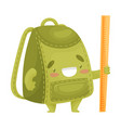 cute green school bag with a ruler vector image vector image