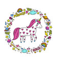 cute handdrawn unicorn unicorn and magic stuff vector image