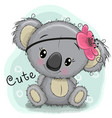 cute koala girl on a blue background vector image vector image