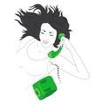 Cute young woman happy on the phone vector image vector image