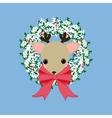 Deer on the wreath vector image
