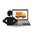 delivery call centre operator online fast delivery vector image vector image
